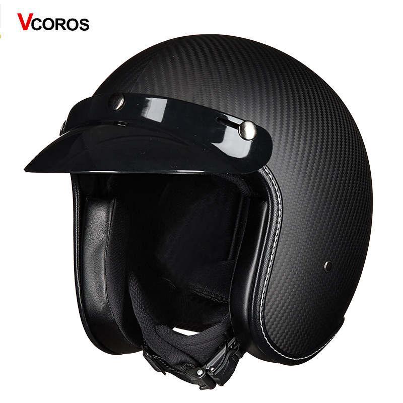 VCOROS harley vintage casque de moto chopper été jet moto course visage ouvert demi fibre de carbone renforcé casque de coque