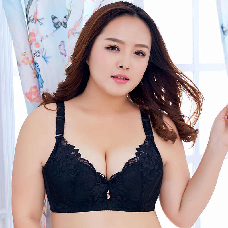 616285b41b9 ... OUDOMILAI 34-50 C D E Cup Plus Size Brassiere thin Lace Flowers Large  breasts Big Size ...