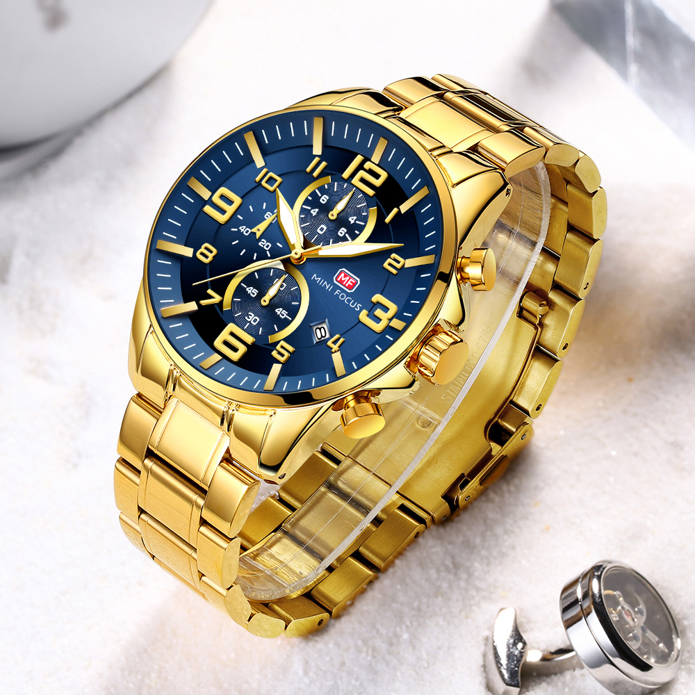 MINI FOCUS Golden Mens Watches Top Brand Luxury Quartz Clock Calendar Chronograph Multifunction Fashion Wristwatch Waterproof