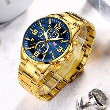 Мини-фокус золотые мужские часы лучший бренд Роскошные Кварцевые часы Календарь многофункциональный хронограф модные наручные часы водонепроницаемые