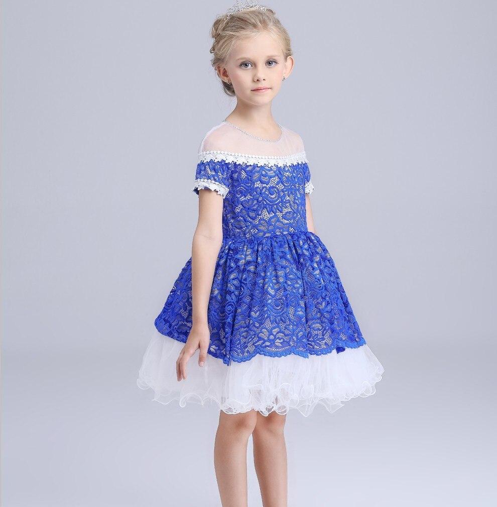 Aliexpress.com : Buy short sleeve blue floral flowers girls dress ...
