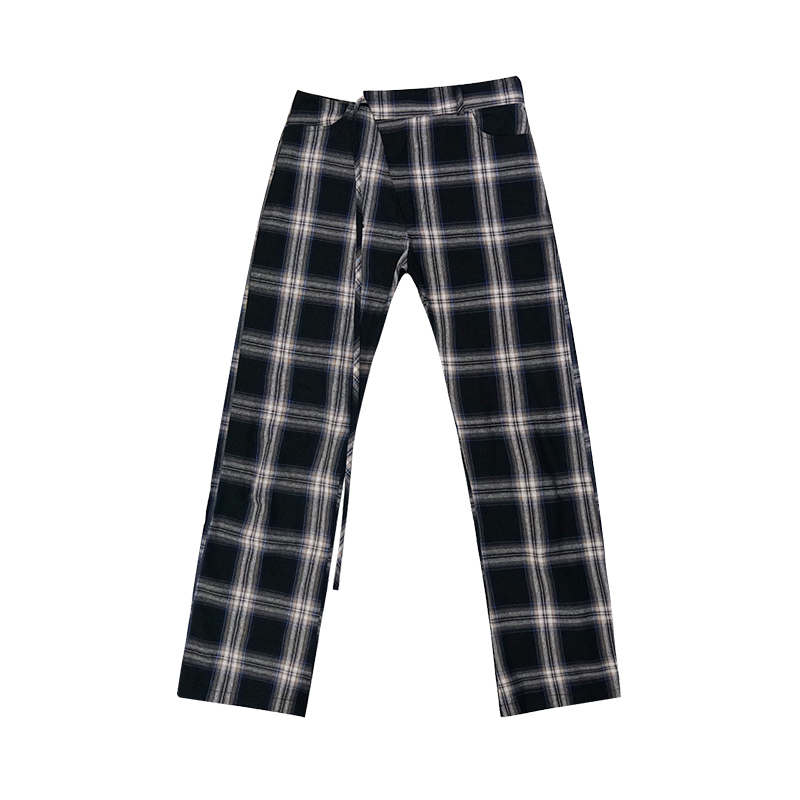 Korean Fashion Spring Summer New Women Vintage Plaid Pants Cotton Lace Up Thin Female Ankle-length Pants Trouser Capris