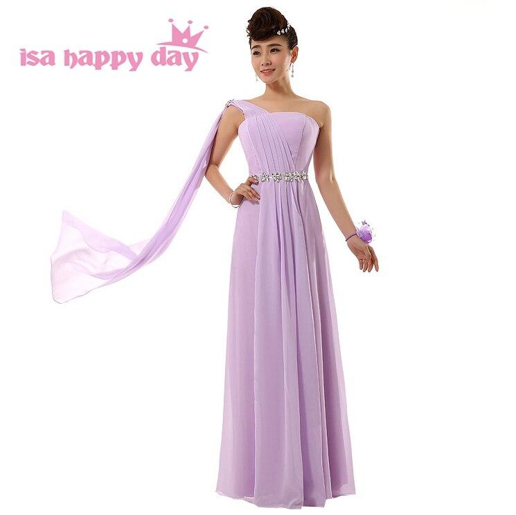 Cheap Long Formal Corset Purple Lilac Elegant Bridesmaid Gowns Dresses One Shoulder New Bridesmaids Dress Under $50 H2694