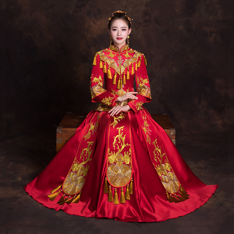 Ancient Toast Clothing Red Chinese Women Wedding Dress Tassels Oriental Embroidery Qipao Traditional Marriage Cheongsam Suit