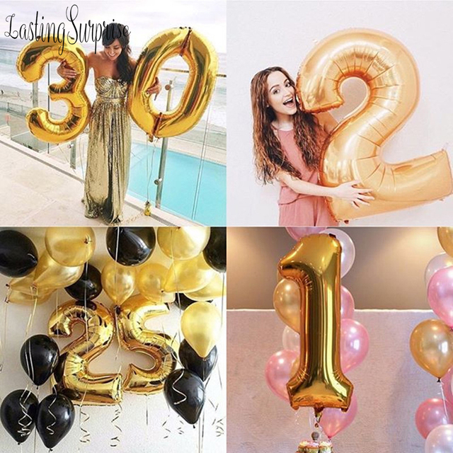 32inch Number Balloons Gold Digital air Ballon Birthday Party Decorations Figure balloon Party Supplies Globos New Year 2019