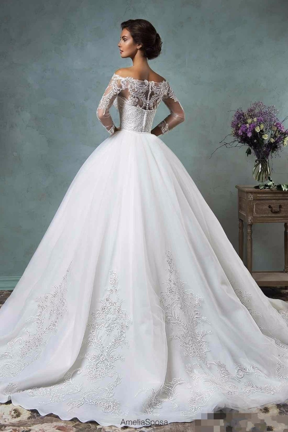 a391081e31 Vintage 2017 Amelia Sposa Lace Wedding Dresses with Detachable Skirt Cheap  Modest Sheer Long Sleeve Appliques Bridal Gowns -in Wedding Dresses from  Weddings ...