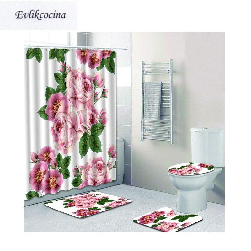 Free Shipping 4pcs Black Leaf Banyo Paspas Bathroom Carpet Toilet U Type Bath Mat Set Non Slip Tapis Salle De Bain Alfombra Bano Bathroom Products