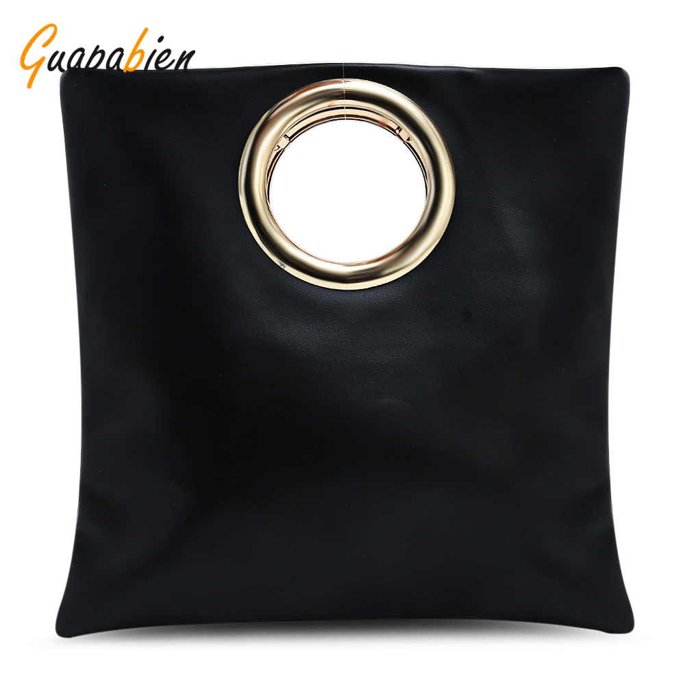 Guapabien Women Metal Ring Handbag Casual PU Leather Ladies Shoulder Bag Crossbo