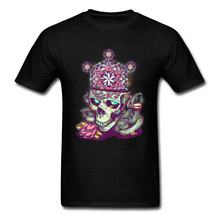 2018 Funky T-shirt Men Hip Hop T Shirts Flower Of Life Skull Tops Graphic Black Tees 3D 100% Cotton Clothing Custom Company