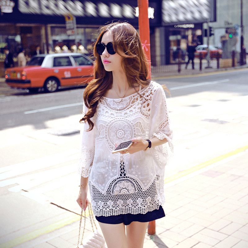 Ladies crochet lace summer beach tops cover up 2018 boho tshirts women o neck hollow out sexy tshirts short sleeve cotton tees in T Shirts from Women 39 s Clothing