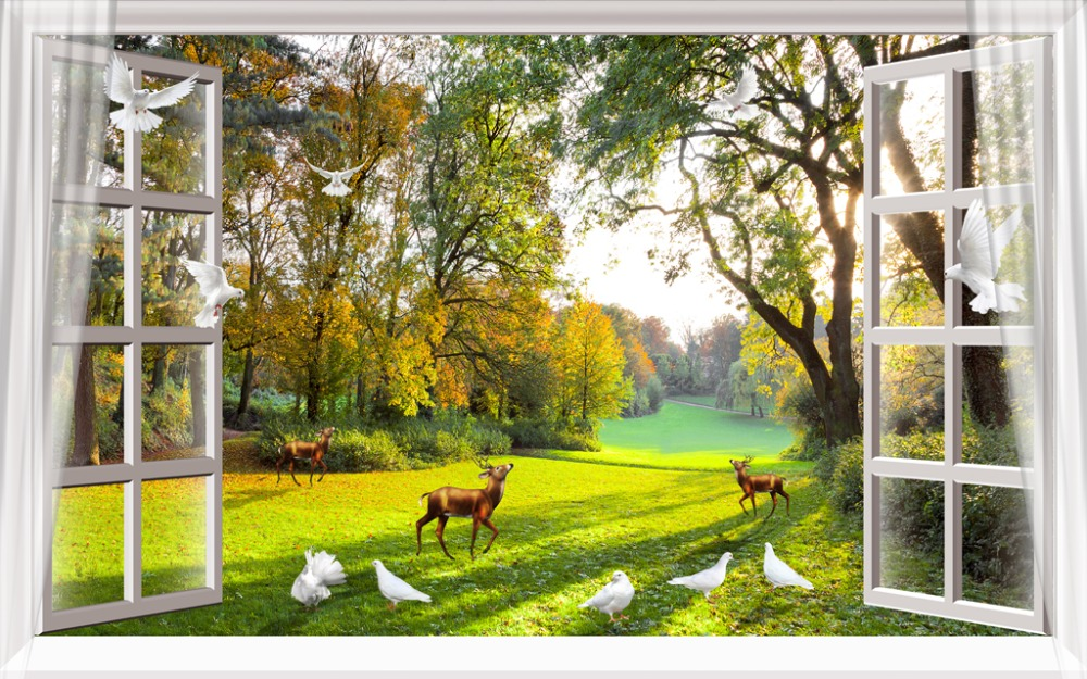 3D Curtain Window Park Animals Living Room or Hotel Cortians Sunshade Window Curtains Tridimensional Scenery Printing3D Curtain Window Park Animals Living Room or Hotel Cortians Sunshade Window Curtains Tridimensional Scenery Printing