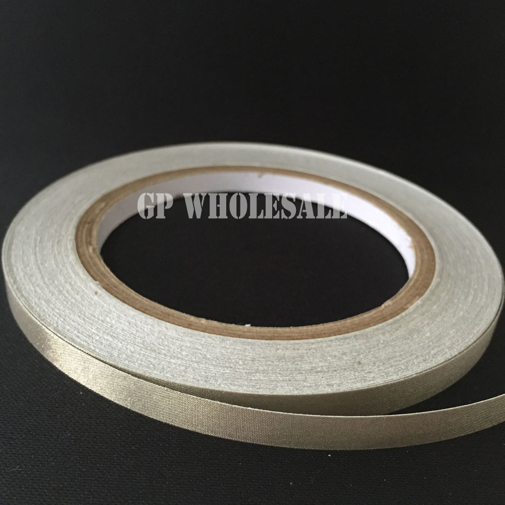 1x 13mm* 20 meters single sided Silver Adhesive Conductive Cloth Tape for PC Phone Cable Panel EMI Shielding 290mm 33 meters 0 08mm single sided