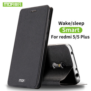 Image 1 - Para Xiaomi Redmi 5 Plus capa case Para Xiaomi Redmi 5 capa caso de silicone de luxo bolsa em couro flip original Mofi Xiomi Redmi 5 Plus capa 360 rígido fundas