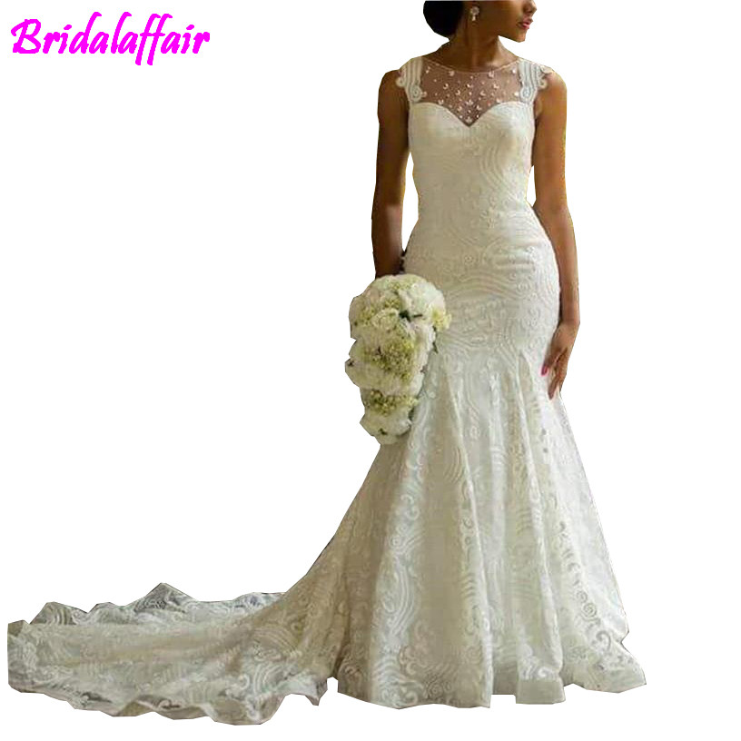 2018 Garden Wedding Dresses Mermaid Illusion Neckline Bridal Gowns Nigerian Lace Covered Button Back Long African Wedding Gown