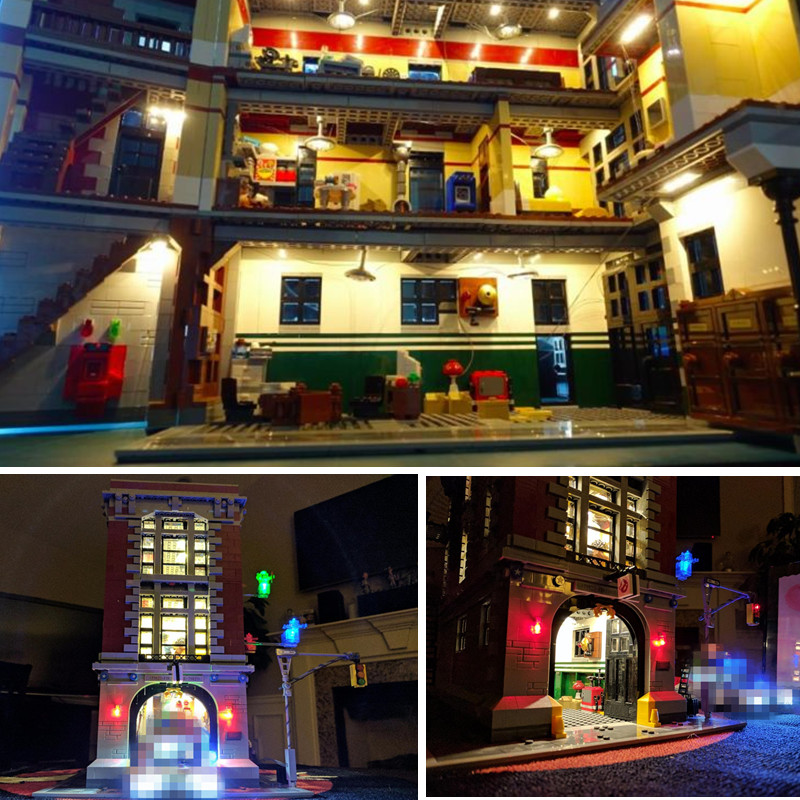 LED light up kit for lego 75827 and 16001 Ghostbusters Firehouse Headquarters Model Building Kits Model set