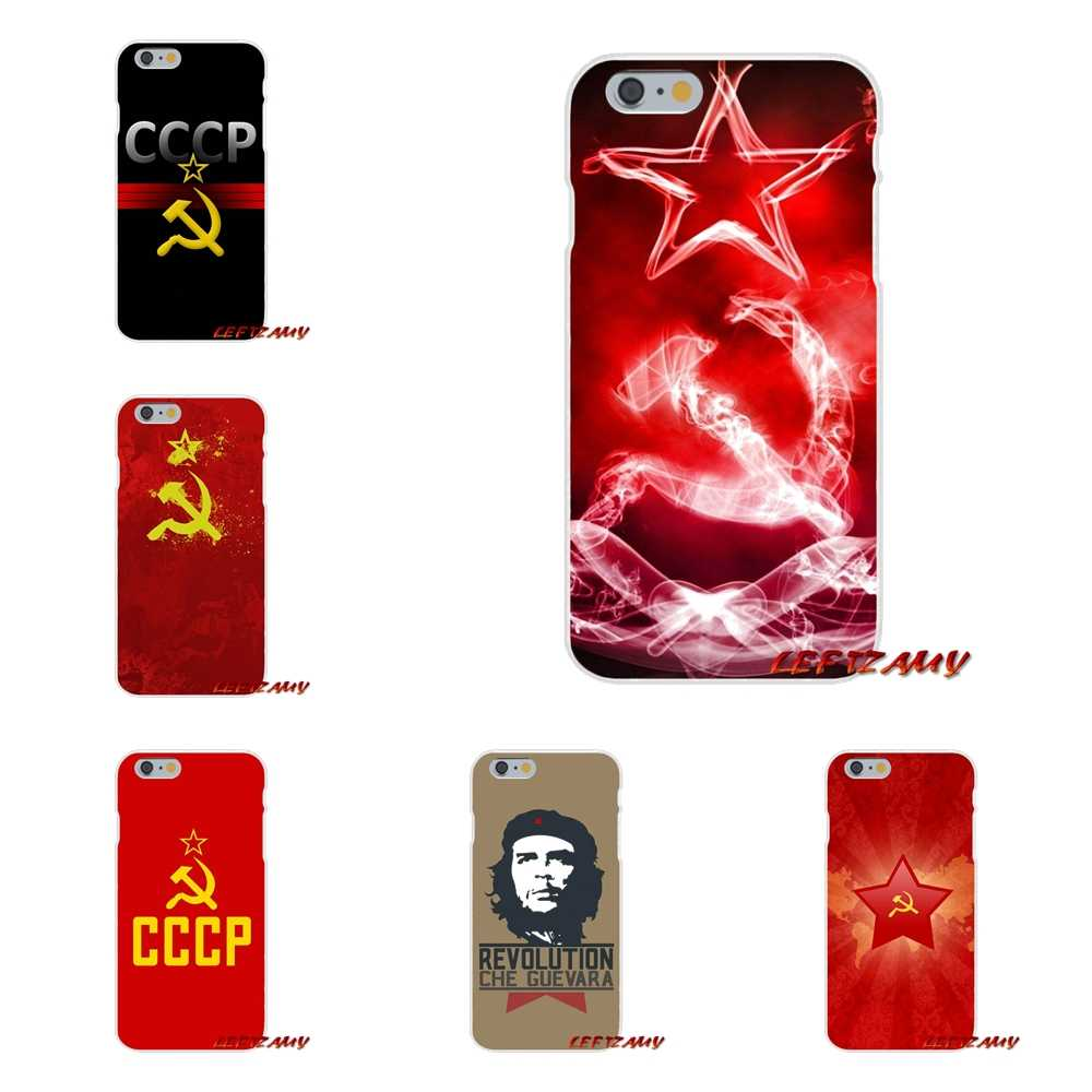 For Xiaomi Redmi 3 3S 4A 5A Pro Mi4 Mi4C Mi5S Mi6X Mi Max2 Note 3 4 5A Transparent TPU Shell Cover Soviet Union USSR Grunge Flag