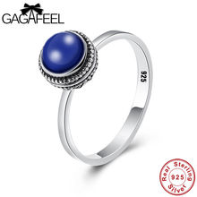 GAGAFEEL 100% Real Pure 925 Sterling Silver Lapis Lazuli Rings Women Retro Elegant Gift for Lover Silver Ring Jewelry Drop Ship