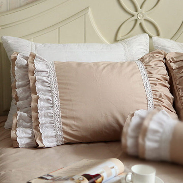 New Khaki European Patch Pillowcase Elegant Lace Ruffle Pillow Sham Beauteous Decorative Bed Pillow Shams