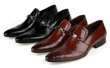 Fashion Black / brown tan flats mens business shoes genuine leather mens wedding shoes dress shoes mens office shoes with buckle