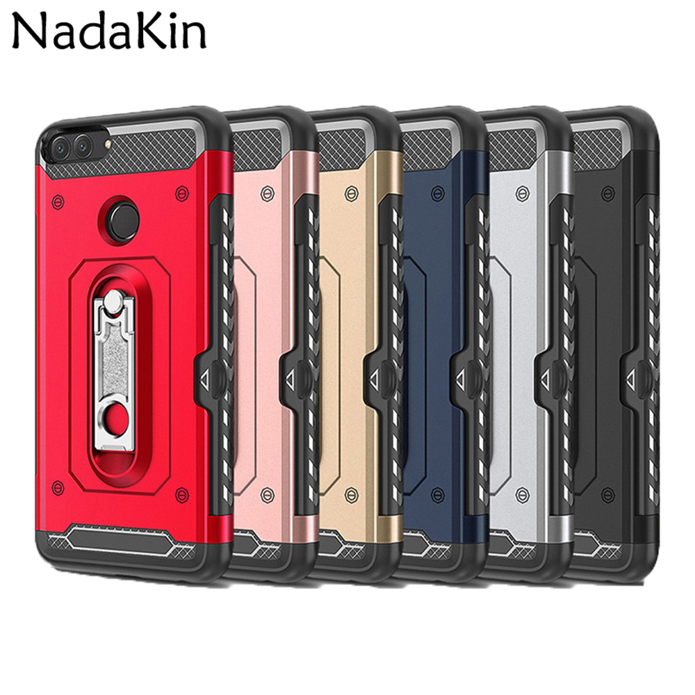 Hybrid Heavy Duty Protection Rugged Shockproof Armor Case Shell Cover for Huawei Mate 10 Lite P Smart (2017) Metal Kickstand