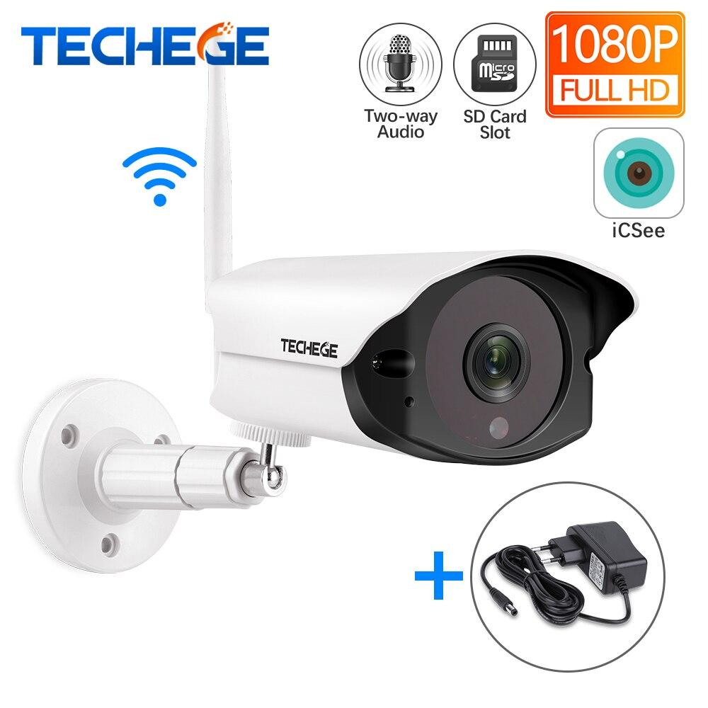 2MP Techege 1080P HD Wifi IP câmera Ao Ar Livre indoor Sem Fio de Detecção de Movimento De Câmera De Segurança Com Fio Interfone slot para cartão TF