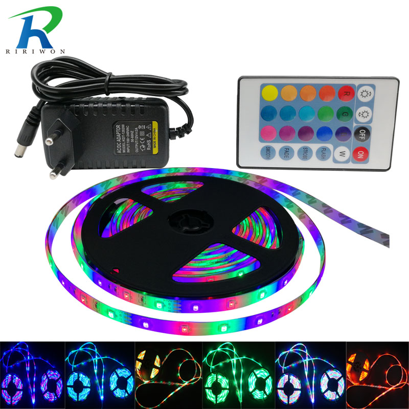RGB LED Strip Light SMD5050 2835 5m 10m 15M Ingen Vanntett leds tape diode bånd LED lampe kontroller AC 220V DC 12V adapter sett