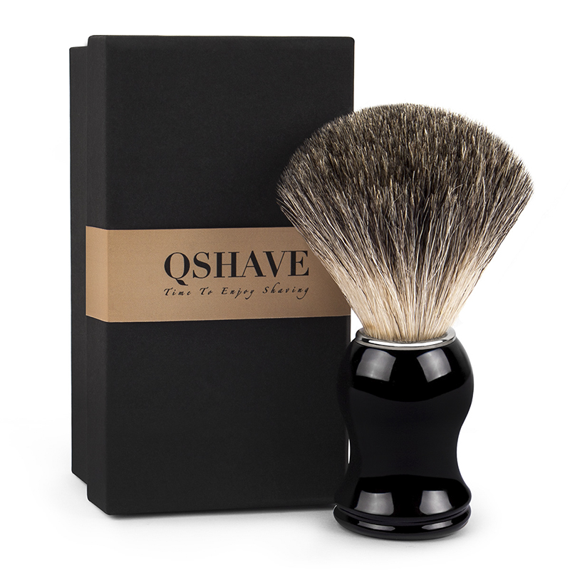 Qshave Man Pure Badger Hair Shaving Brush 100% Original For Razor Edge Safety Straight Classic Safety Razor 11.5cm X 5.2cm