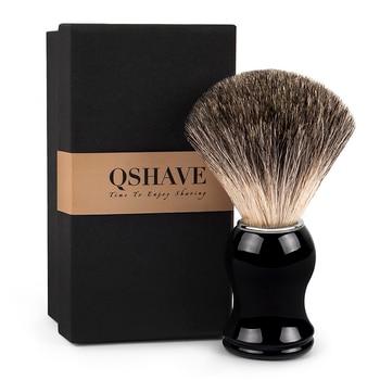 Qshave Man Pure Badger Hair Shaving Brush 100% Original for Razor Edge Safety Straight Classic Safety Razor 11.5cm x 5.2cm Razor