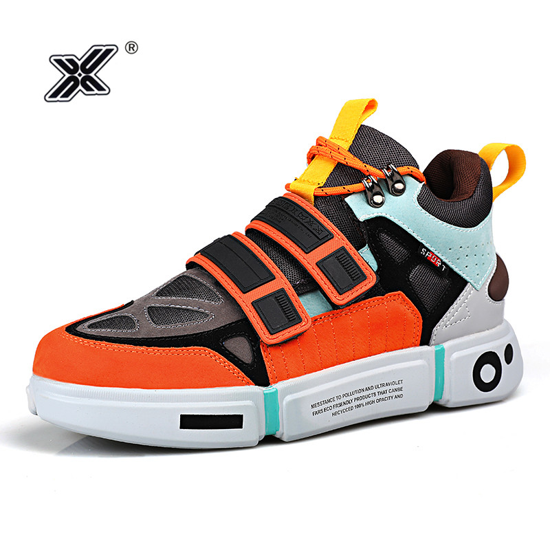 X Brand Fashion Outdoor Orange Platform Men Shoes for Couples Microfiber Colorful High top Men Sneakers Zapatillas Hombre 2019