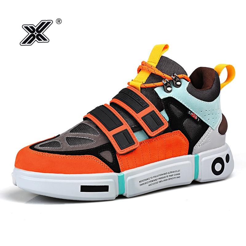 X marca de moda ao ar livre laranja plataforma sapatos masculinos para casais microfibra colorido high top tênis masculinos zapatillas hombre 2019