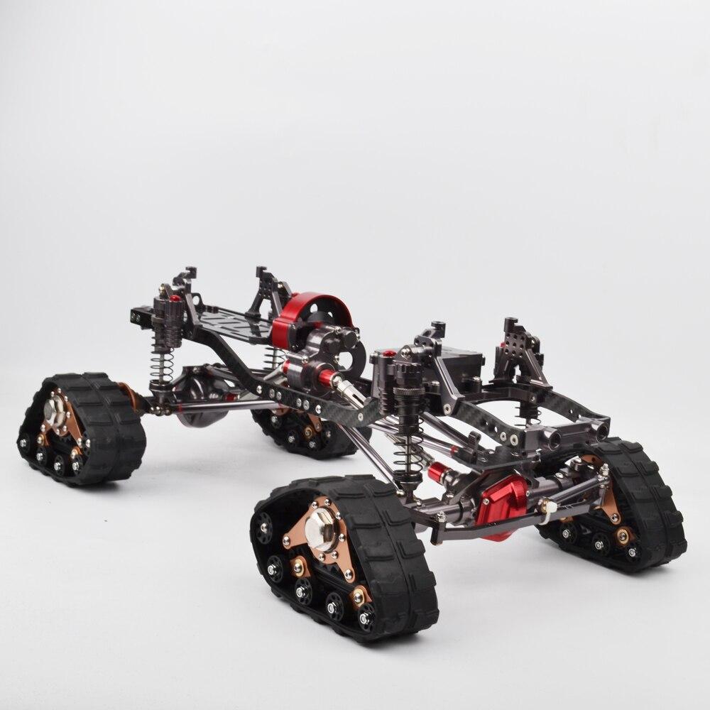 4 pièces 1/10 RC en alliage d'aluminium pistes roue Sandmobile Conversion pneu de neige pour SCX10 Axial échelle essieu et piste chenille