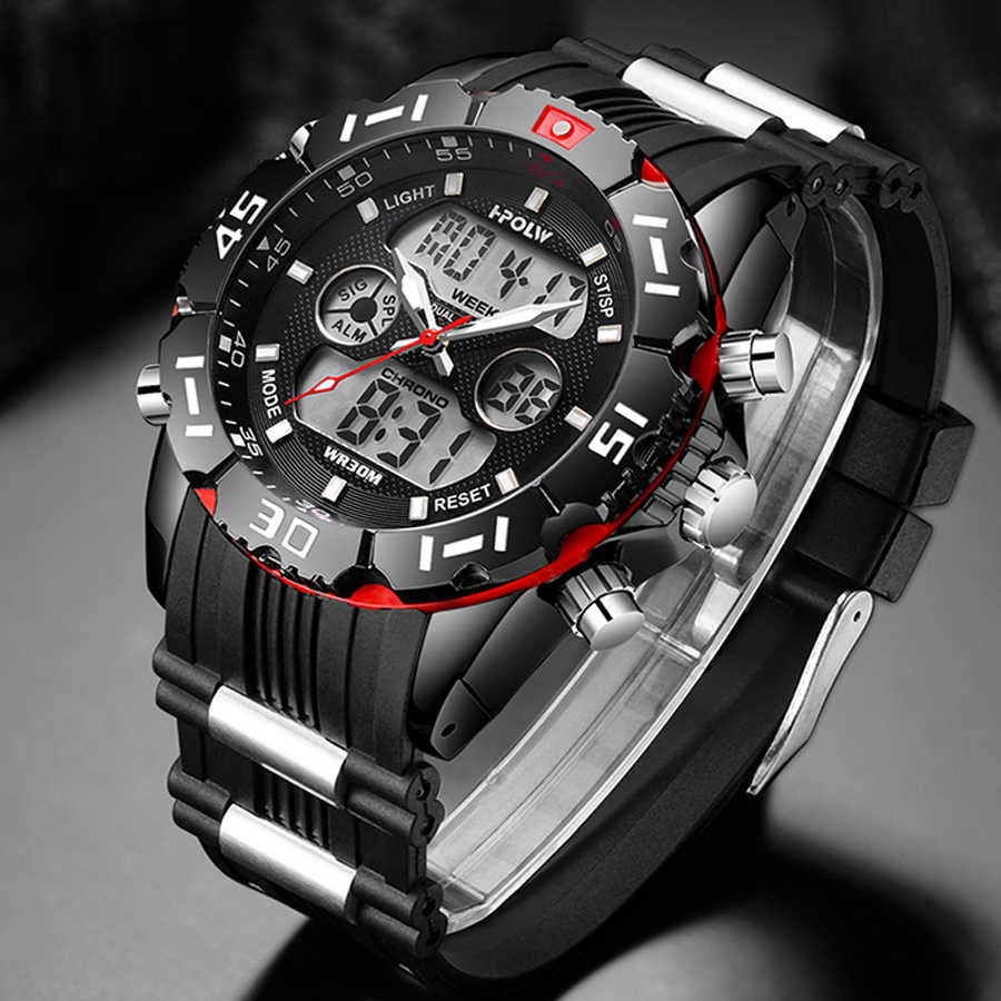 Mode Sport Super Kühlen männer Quarz Digitale Uhr Männer Sport Uhren HPOLW Luxus Marke LED Military Wasserdichte Armbanduhren