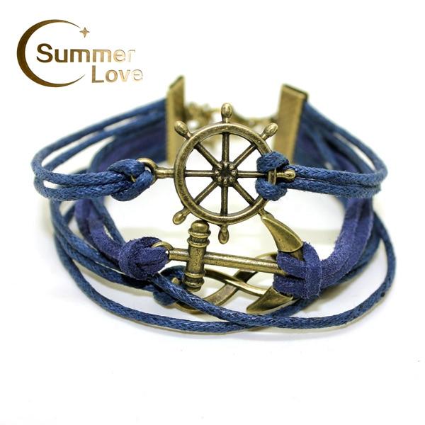 Fashion Handmade Leather Bracelets For Women Infinity Rudder Anchor Variety Charms Wristband Leather Bracelet Femme Pulseras