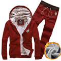 2016 Winter men's fashion casual Korean (hooded jacket + trousers) Solid color plus velvet thickening Men's Slim trend jacket XL