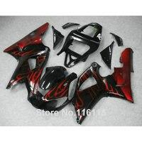 Пластиковые обтекатели комплект для YAMAHA R1 2000 2001 красным пламенем в черный комплект обтекатель YZF R1 00 01 наборы тела литья 3174