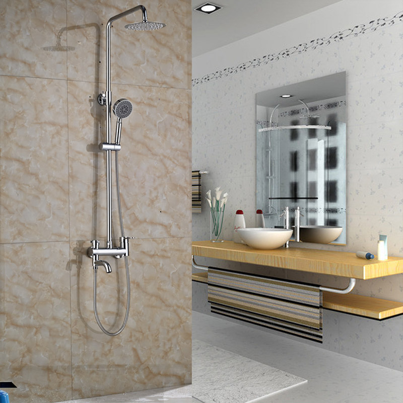 High-grade Fashionable Design Bathroom Shower Faucet Chrome Finish Wall Mounted with ABS Hand Shower free shipping polished chrome finish new wall mounted waterfall bathroom bathtub handheld shower tap mixer faucet yt 5333