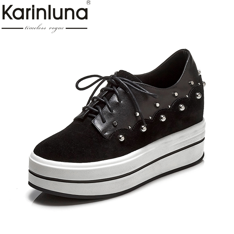 KarinLuna 2018 New Top Quality Genuine Leather Andcow Suede Flat Platform Shoes Women Fashion Spring Casual Shoes Footwear women s shoes 2017 summer new fashion footwear women s air network flat shoes breathable comfortable casual shoes jdt103