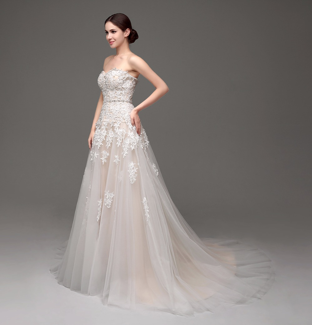 Image 5 - 100% Real Images High Quality Cheap Champagne Wedding Dresses A line Swetheart Bride Gowns Lace vestido de noiva com manga-in Wedding Dresses from Weddings & Events