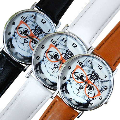 Hot Sales Men's Women's Glasses Cat Dial Faux Leather Strap Analog Quartz Wrist Watch 5UXR