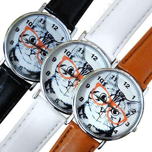 Hot Sales Men's Women's Glasses Cat Dial Faux Leather Strap Analog Quartz Wrist Watch 5UXR