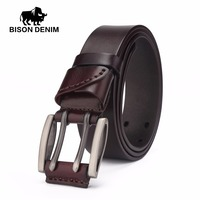BISON DENIM Vintage Double Pin Buckle Genuine Leather Belt For Men Casual Jeans Accessories Father S