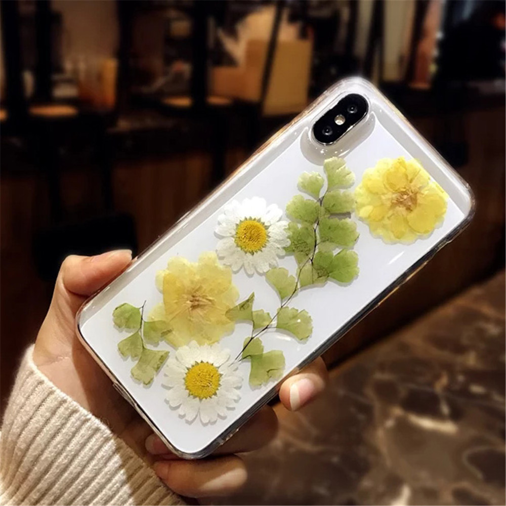 Real Flowers Dried Flowers Soft TPU Back Cover For iPhone X 6 6S 7 8 plus Case Transparent Phone Case for iphone XR XS Max Cover in Fitted Cases from Cellphones Telecommunications