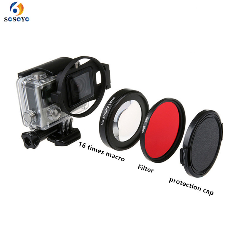 58mm Red Diving Filter+ Magnifier16x Magnification Macro Close Up Lens For GoPro Hero4/3+ Sports Action Camera Accessories