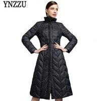YNZZU Hohe Qualität 2017 Neue Winter frauen Daunenjacke Elegante lange Feste Stehkragen Warme Gans Daunenmantel Puffer Jacke YO407