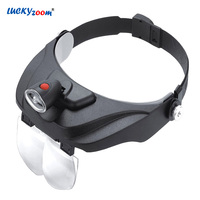 Headband Helmet Magnifier With LED Light Illuminated Loupe 1.2X 1.8X 2.5X 3.5X Multifunction Reading Magnifying Glasses