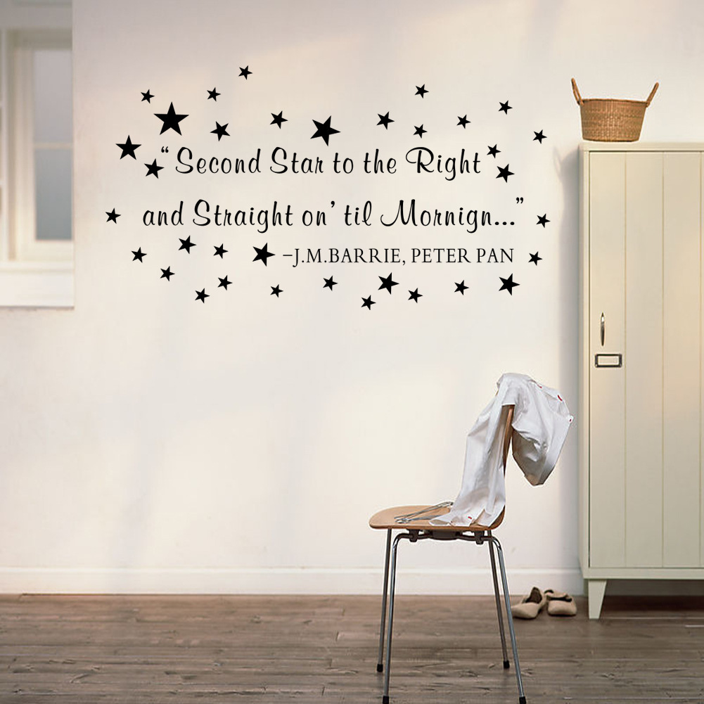 Wall stickers peter pan gallery home wall decoration ideas letter quote wall decal second star to the right and straight on letter quote wall decal amipublicfo Gallery
