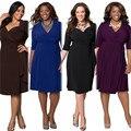 Женщины Платья Бесплатная Доставка Леди Платья 2016 Большой Размер Dress Моды Отдыха Диких Сплошной Цвет Резинка Подходит Жир ММ Топы