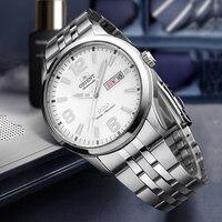 100% Original Orient Watch White Dial Men Fashion Sport Automatic Mechanical Mens' Watches Business 50m Waterproof Watch