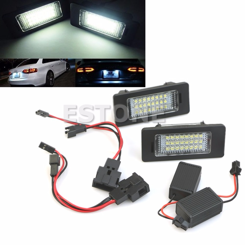 License Plate Light 24 SMD LED No Error For Audi A4 B8 S4 A5 S5 Q5 S TT quattro C45