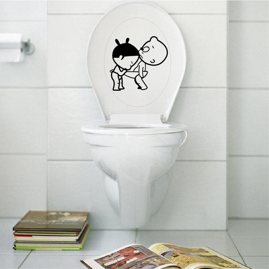 Hot Selling New Funny bathroom decro Home Decoration Creative Toilet stickers Cute Kids Wall Sticker